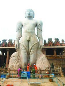 Bahubali. Gommateshwara. atop Vidhyagiri or Doddabetta 981 AD.city kemp